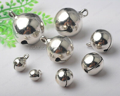 silver plated copper Jingle Bells Charm Bead Finding 6mm 8mm 10mm 12mm 14mm-25mm
