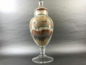 Clear-GLASS-Colorful-Desert-Looking-Sand-Art-Vase-Beautiful-Bottle-with-lid