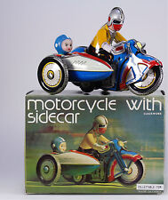 Clock Work Tinplate Motorcycle & Sidecar, New Old Stock, Made in China 1980s