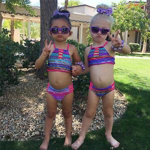 e6d097fb468bc USA Baby Girl Summer Striped Swimwear Kid Child Swimsuit Bikini Set ...