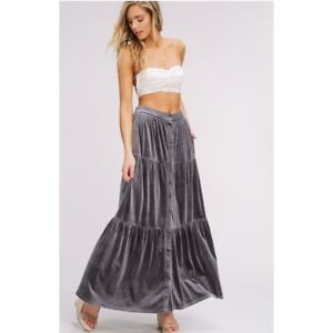 special discount real deal amazing quality Details about Long Velvet Maxi Skirt Duster New M Charcoal Grey