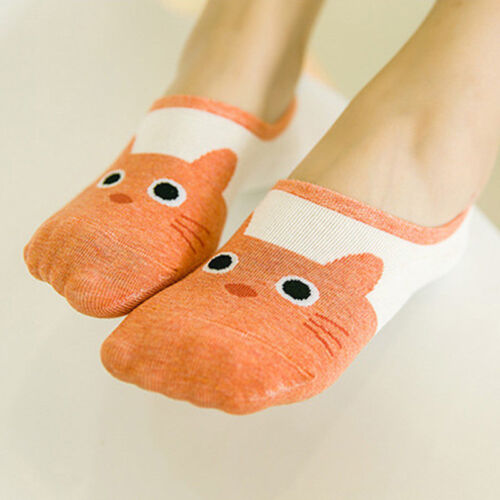 5Pairs Womens Cartoon Invisible Boat Socks Low Cut No Show Cotton  Liner Hosiery