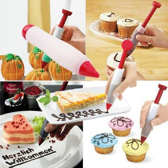 Silicone Cake Pastry Cookie Icing Decorating Syringe Cream Chocolate Plate Pen F