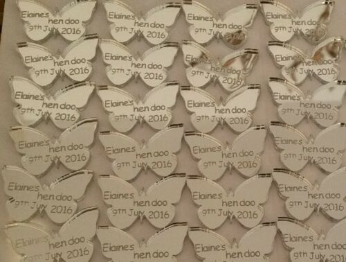 Personalised Silver Mirror Butterfly Wedding Favour Hen Birthday party keepsakes
