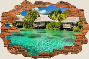3D-Hole-in-Wall-Exotic-Ocean-Beach-View-Wall-Stickers-Art-Decal-Wallpaper-S73