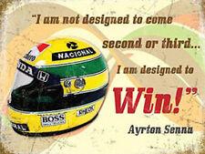 Ayrton Senna Helmet, Motorcar Racing Quote Old F1 Race Car, Small Metal/Tin Sign