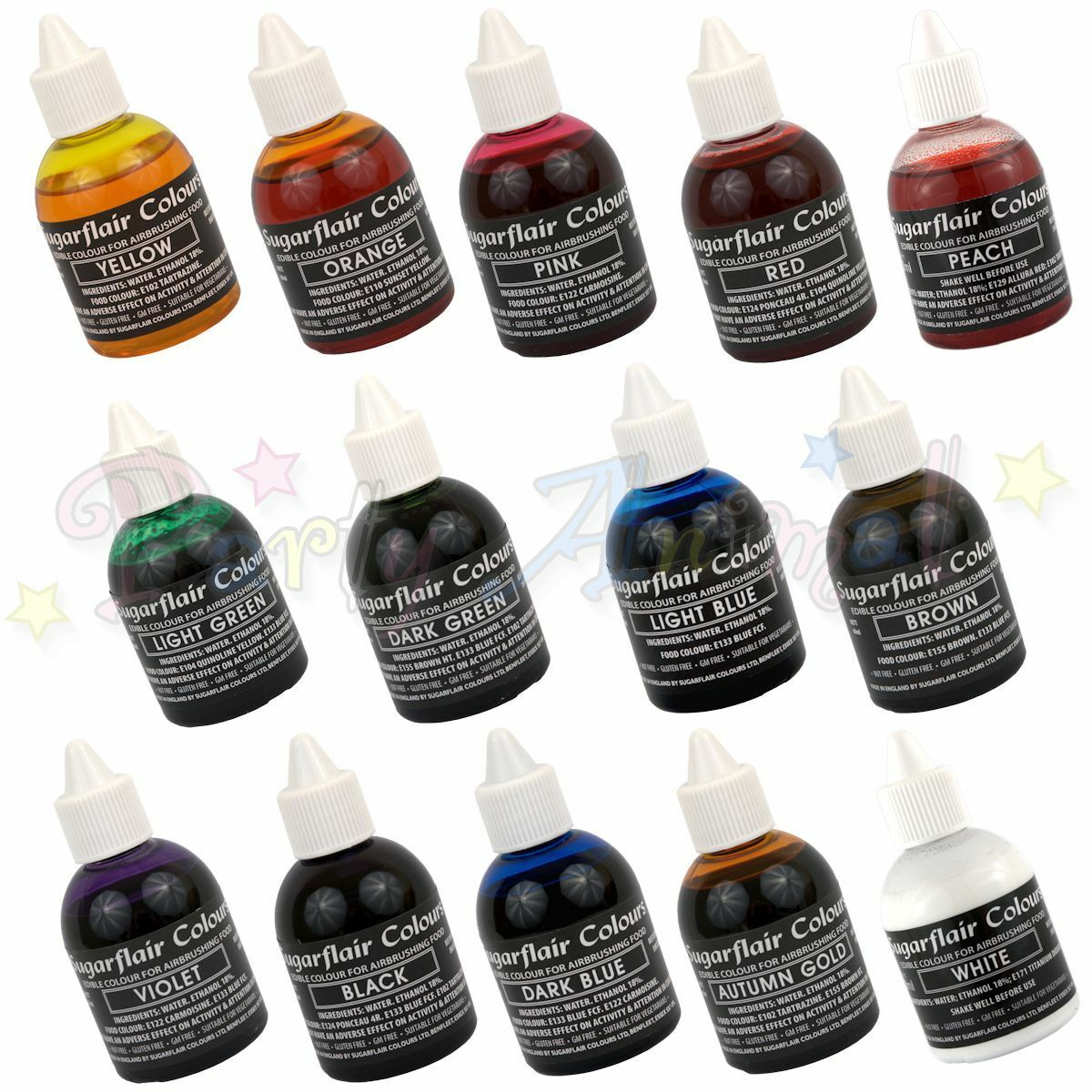 Sugarflair Aerógrafo Color Conjunto de 14-Comestibles Colorante Alimenticio Para Aerografía