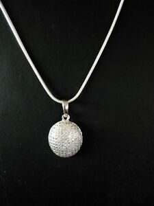 Estate-800-1Ct-Brilliant-Diamond-14k-White-Gold-Over-Circle-Pendant-18-034-Chain
