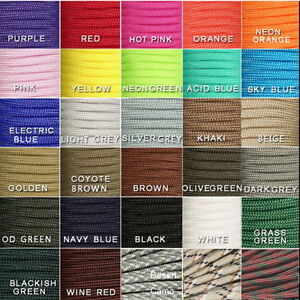 550-Paracord-Parachute-Cord-Lanyard-Mil-Spec-Type-III-7-Strand-Core-30-50-100-FT