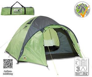 Iglu-Doppeldachzelt-grau-gruen-3-Personen-reflektierend-Zelte-mit-Tasche