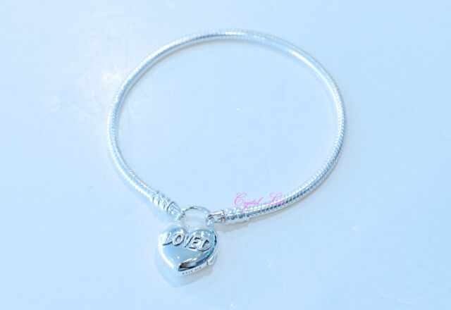 5c3d5d0e4 Authentic Pandora You Are Loved Heart Smooth Silver Padlock Bracelet 597806 -19