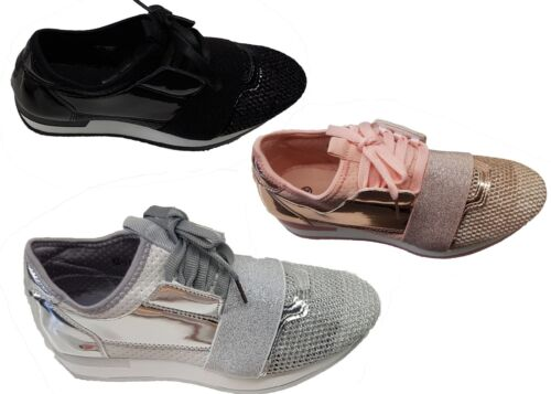 Womens Breathable Glitter Lace Metallic Gym Walking Sneakers Fashion Trainers