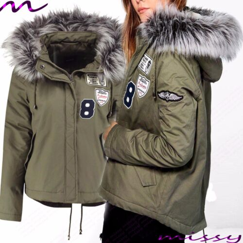 NEW WOMENS LADIES QUILTED WINTER COAT PUFFER FUR COLLAR HOODED JACKET PARKA SWIZ