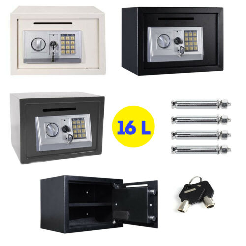 16L DIGITAL STEEL SAFE ELECTRONIC SECURITY MONEY CASH FILE SAFETY BOX WALL MOUNT