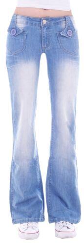 Damen Marlene Schlaghose Schlagjeans Bootcut Hose Hüftjeans Blau Denim Jeans H48