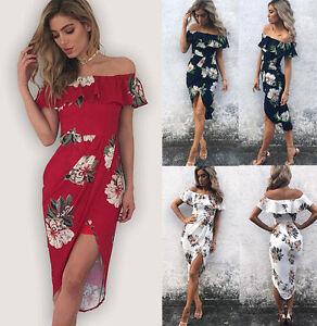 Womens-Ladies-Off-Shoulder-Floral-Midi-Dress-Summer-Ruffle-Beach-Party-Sundress