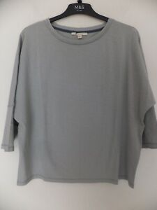 New Women's White Stuff Light Blue 3/4 Sleeve Oversize Top Size UK 12,18,20