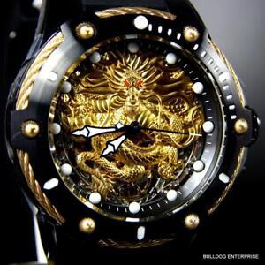 Men-039-s-Invicta-Bolt-Dragon-Gold-Tone-Mechanical-Black-Silicone-52mm-Watch-New