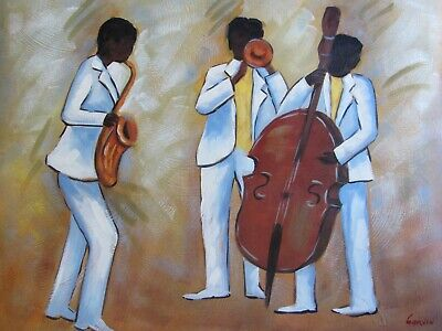 Abstract Jazz Band Saxophone Trumpet Bass Music Art Large Oil Painting Original Ebay