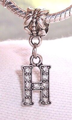 Letter H Clear Rhinestone Alphabet Initial Dangle Charm for European Bracelets