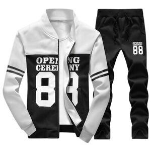 NEW-Plus-Size-Fashion-Men-Print-Sweat-Tracksuit-Outwear-Sports-Suit-Casual