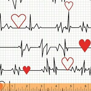 Heart-Beat-Nurse-Medical-EKG-White-Cotton-Fabric-Windham-Calling-Nurses-Yard