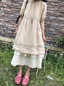 Robe Lin Brodee Ample Vintage Mori Superposition Ancienne Shabby Chic Boheme Ebay