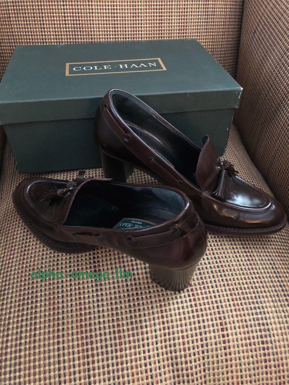 Cole Haan Women's KERRY Loafer-Block Heel-6.5-Brown Leather-Dressy--NIB