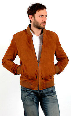 Men's New Casual Tan Brown Multi-Pocket 100/% Genuine Goat Suede Safari Jacket