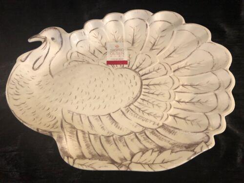 """Large Sigrid Olsen Home Melamine TURKEY Serving Platter  19/"""" x 14.5"""