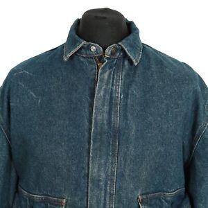 Vintage-Levi-039-s-Decke-gefuettert-Reissverschluss-Denim-Jacke-Retro-Jean-Trucker-Wash-Mantel