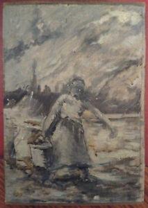 Tableau-Ancien-Impressionniste-Lavandiere-Huile-Eugene-Boudin-dans-le-gout-de