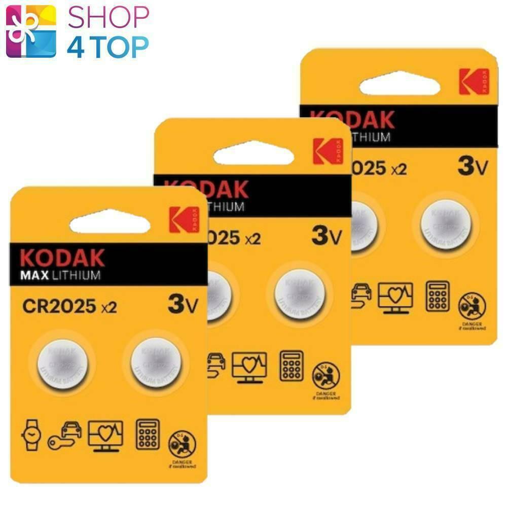 6 kodak max lithium batteries cr2025 blister pack 3v coin cell button 2bl new
