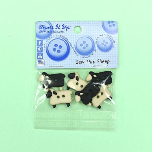 Dress It Up Botones Coser a través de ovejas Cordero Adornos animales de granja de 5832