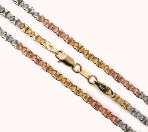 WHOLESALE 925 Sterling Silver Italian Chain Valentino 060 Fancy Dc Gold Plating