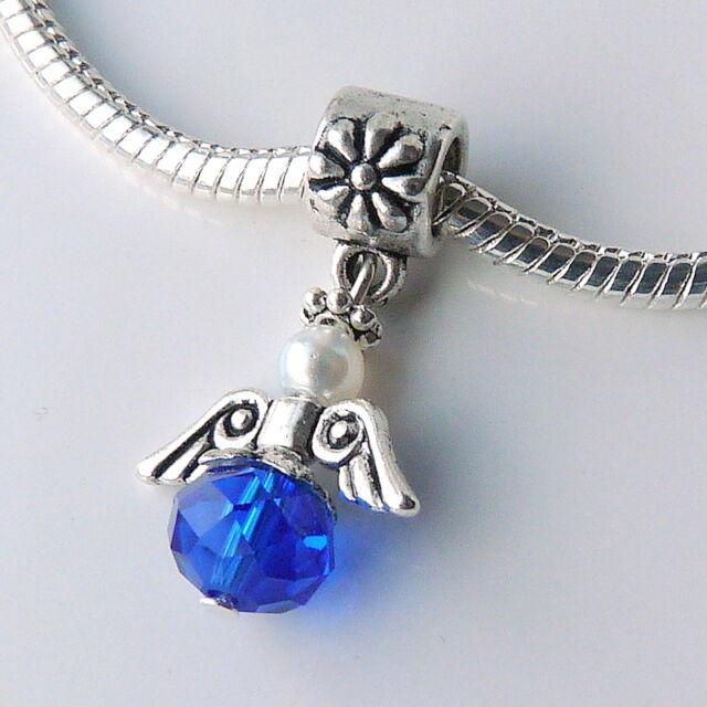 Crystal Guardian Angel Wings Charm Bead for european bracelet necklace