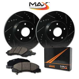 1999-2000-2001-2002-Oldsmobile-Alero-Black-Slot-Drill-Rotor-w-Ceramic-Pads-F