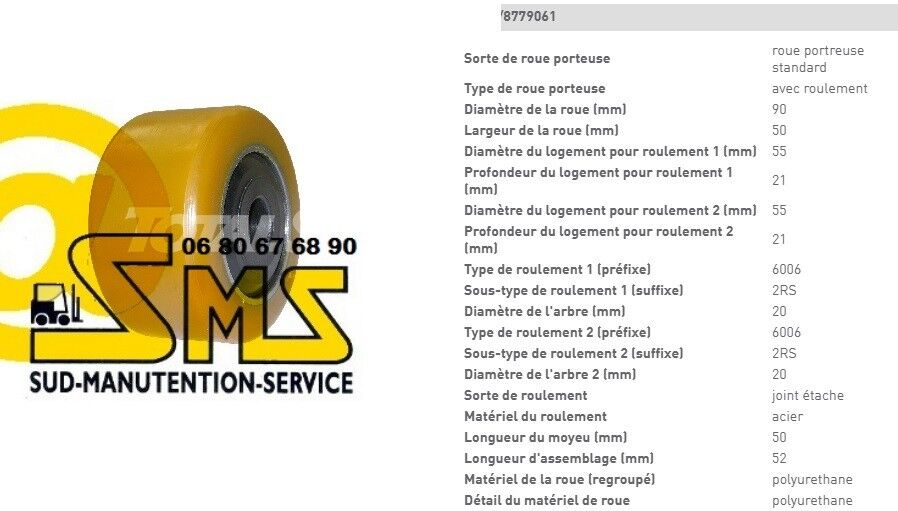 CROWN WP 20 3020 ROUE STABILISATRICE 90 50 52 20 WP mm TRANSPALETTE PIECE RECHANGE 0bbbdd