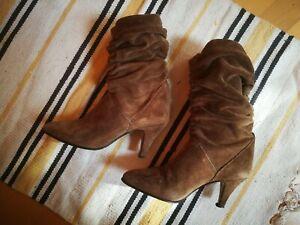 Italienische-Stiefel-High-Heels-Wildleder-Braun-EU-36-getragen