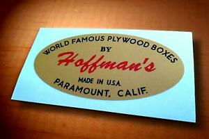"Vintage 60's Style ""HOFFMAN'S WORLD FAMOUS PLYWOOD BOXES"" Small Pit Box Sticker"