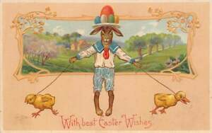 Dressed-Bunny-Rabbit-with-Eggs-on-his-Head-Chicks-on-Leash-Easter-Postcard-m123