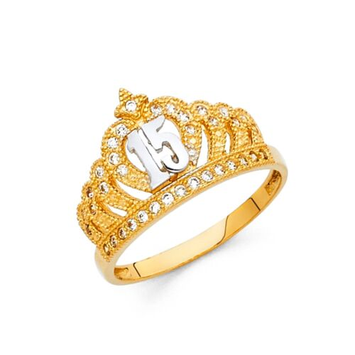 Crown 15 Quinceanera Ring Solid 14k Yellow Gold Princess Band CZ Tiara Fancy