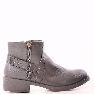 Señoras para mujer tipo Botines Chelsea Casual Cremallera de moda de estilo plano zapatos talla 3-8