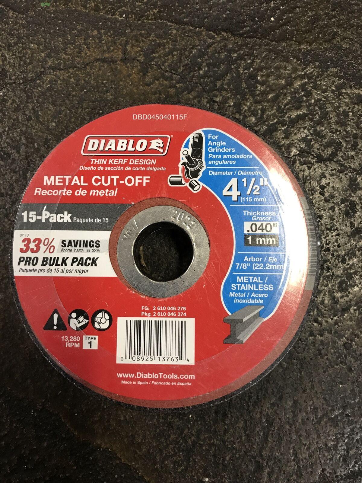 Diablo  4-1//2in Aluminum Oxide  Metal Cut-Off Disc  0.04in  x 7//8in   25 pk