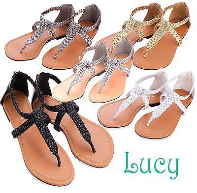 Women Shoes Sandals Gladiator Woven T-Strap Thong Flat Slipper Flip Flops - SALE