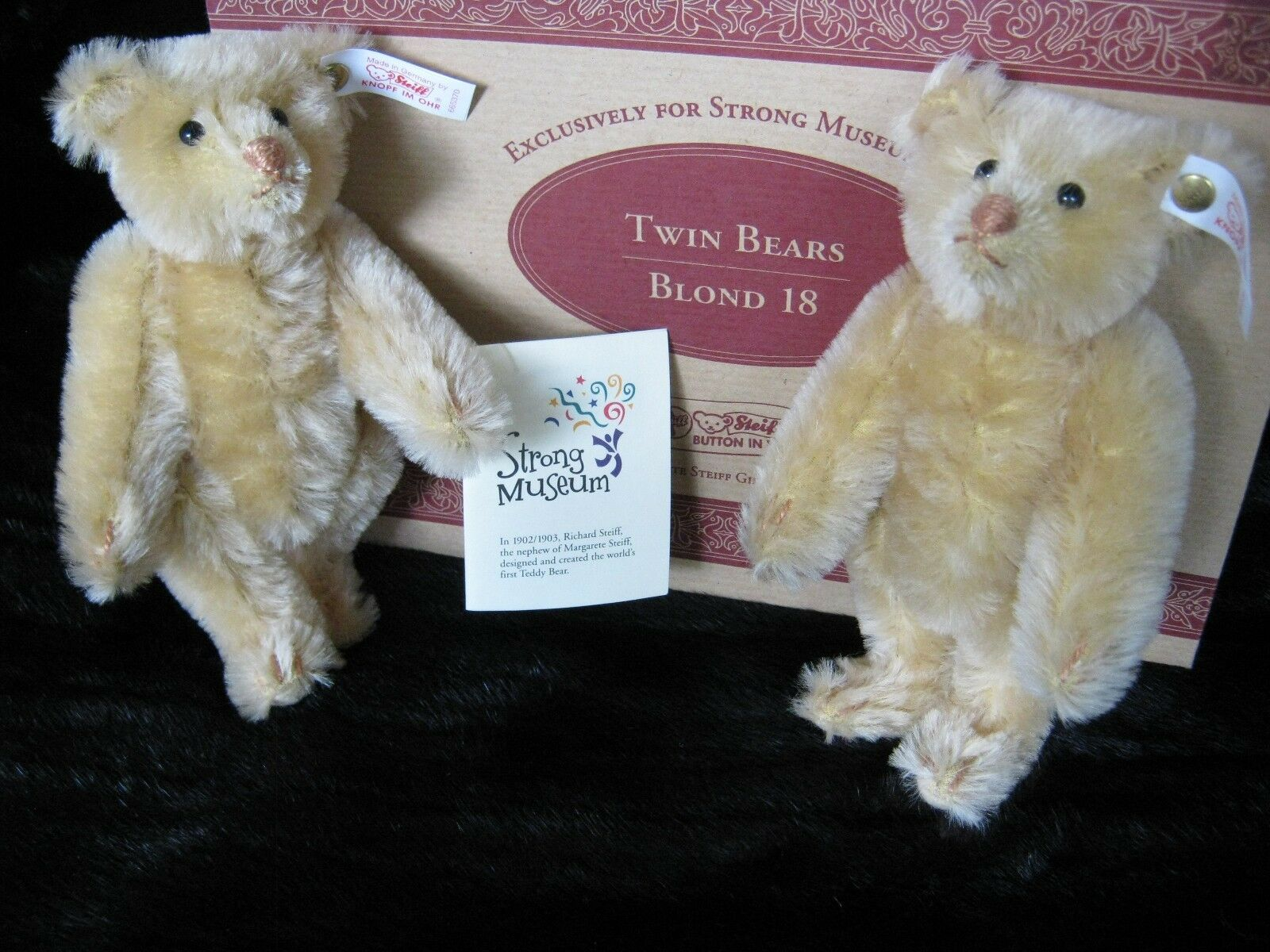 Steiff Blond Twin Bears- Replica- Strong Museum Limited Ed/Box- Mohair 1998 NIP
