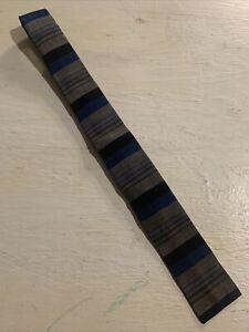 Vtg-50s-1950s-Square-End-Striped-Skinny-Tie-Rockabilly-Blue-Gray-VLV-54-2