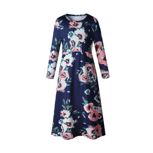 Family Matching Mother Daughter Womens Girls Floral Casual Long Maxi Dress Gown