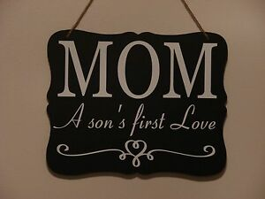 Mom a son\'s first love, hanging sign, plaque vinyl saying Christmas ...