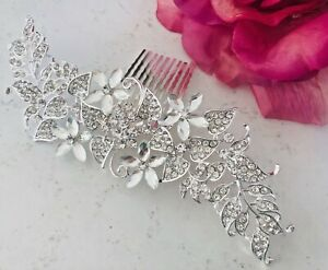 Bridal-Silver-long-Hair-Comb-Clip-Pin-Bridal-Diamante-Crystal-Slide-Comb-Sliver
